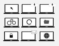 Placez l'isolat d'ordinateur portable de nuage sur le fond gris Photographie stock libre de droits
