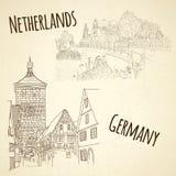 Placez l'ofcity esquissant sur le fond de vintage Amsterdam, illustration libre de droits