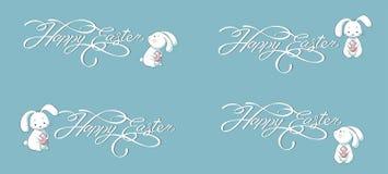 Placez la bannière de vecteur de collection de kit marquant avec des lettres le fond heureux de bleu de lapin de Pâques Image stock