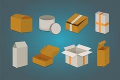 Placez la boîte ouverte et fermée de carton Illustration de vecteur d'emballage de la livraison Image stock