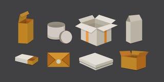 Placez la boîte ouverte et fermée de carton Illustration de vecteur d'emballage de la livraison Photo libre de droits