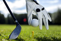 Placez la boule de golf sur une cheville Images stock