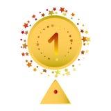 Placez la cérémonie de gagnant de forme de trophée de médaille Images stock