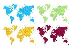 Placez la carte du monde de vert de rouge bleu d'or le prec élevé de bas poly polygone illustration stock
