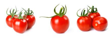 Placez la collection Cherry Tomatoes mûr frais d'isolement sur le fond blanc Photo libre de droits