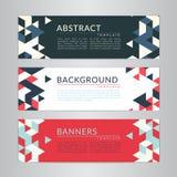 Placez la collection de bannières avec les milieux polygonaux de mosaïque de couleur douce abstraite Modèles triangulaires géomét Photographie stock libre de droits