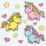 Placez la collection de chevaux mignons de style de kawaii Image libre de droits