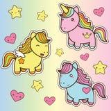 Placez la collection de chevaux mignons de style de kawaii Images stock