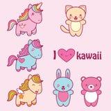 Placez la collection de labels mignons de style de kawaii Photographie stock