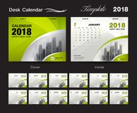 Placez la conception 2018, couverture de calibre de calendrier de bureau de vert Photo libre de droits