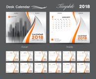 Placez la conception 2018, la couverture orange, ensemble de calibre de calendrier de bureau de 12 Images stock