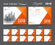 Placez la conception 2018, la couverture orange, ensemble de calibre de calendrier de bureau de 12 illustration libre de droits