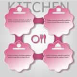 Placez la cuisine faisant cuire l'infographics de nourritures Photos stock