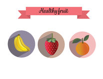 Placez la fraise saine de banane de fruit orange Photographie stock libre de droits