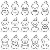 Placez la ligne de noir de potiron d'emoji d'icône pour Halloween Images libres de droits