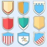 Placez la ligne icônes de boucliers Photo libre de droits
