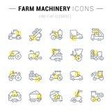 Placez la ligne icônes de vecteur des machines agricoles illustration libre de droits
