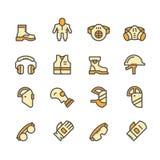 Placez la ligne icônes de l'équipement protecteur illustration stock
