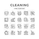 Placez la ligne icônes du nettoyage Photographie stock libre de droits
