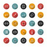 Placez la ligne icônes plates Interface utilisateurs de collection de vecteur Photos libres de droits