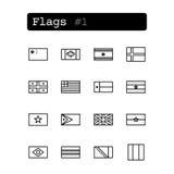 Placez la ligne icônes Vecteur Drapeaux de pays Photos stock