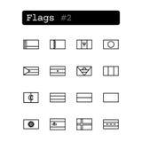 Placez la ligne icônes Vecteur Drapeaux de pays Photo stock