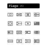 Placez la ligne icônes Vecteur Drapeaux de pays Photos libres de droits