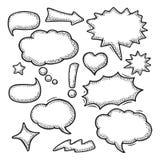 Placez la parole et avez pensé des bulles Gravure de vintage illustration de vecteur