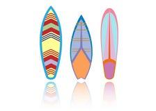 Placez la planche de surf colorée Modèle extrême de sport de mer Illustration de vecteur illustration libre de droits