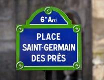 Placez la plaque de rue de DES Pres de St Germain images stock
