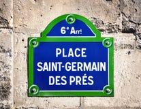 Placez la plaque de rue de DES Pres de St Germain Image stock