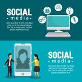 Placez la technologie d'ordinateur et de smartphone avec des applis sociaux illustration libre de droits