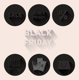 Placez la vente de Black Friday d'icônes de noir mat Photos stock