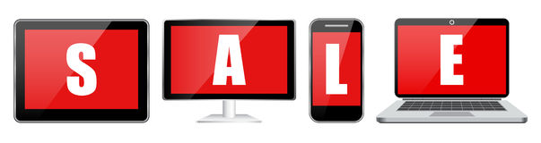 Placez la vente de comprimé et de téléphone d'ordinateur portable de carnet Image libre de droits