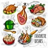 Placez la viande de croquis de couleur, poisson, garnitures illustration de vecteur