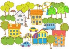 Placez la ville d'amusement Panorama coloré Tiré par la main Photos stock