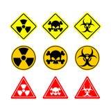 Placez le Biohazard de signe, toxicité, dangereuse Signes jaunes de divers Photographie stock libre de droits