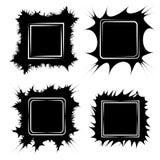 Placez le cadre pour des peintures ou les photos, fissures de forme de cadre de vecteur griffonnent le griffonnage, boom de bulle Image stock