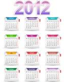 Placez le calendrier 2012 de douze mois Images libres de droits
