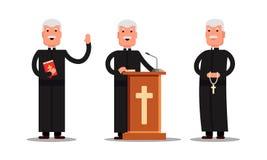 Placez le caractère de pasteur se tenant avec la croix, bible, tribune d'isolement sur le fond blanc Homme de prédicateur dans di Photographie stock