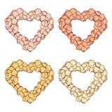 Placez le coeur d'isolement des pétales de rose fait main dans le style de croquis Photographie stock