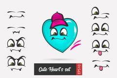Placez le coeur de jour de valentines de visage d'émotion de bande dessinée illustration de vecteur