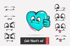 Placez le coeur de jour de valentines de visage d'émotion de bande dessinée illustration stock