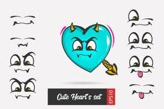Placez le coeur de jour de valentines de visage d'émotion de bande dessinée illustration libre de droits