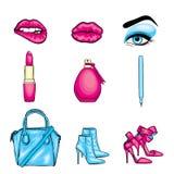 placez le collant dernier cri Lèvres, yeux avec des cils et des chaussures de sourcils, de rouge à lèvres, de crayon, de sac et d illustration libre de droits