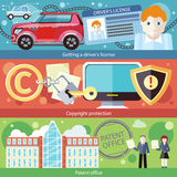 Placez le conducteur License, brevet Copyright de concept illustration stock