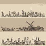 Placez le croquis gravé par vintage de Dubaï Madrid Amsterdam Images stock