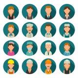 Placez le cuisinier de caractère d'icône, le constructeur, les affaires et les personnes médicales Photo libre de droits