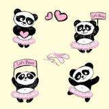 Placez le danseur classique de Panda Girl, fond d'illustration de vecteur Image stock
