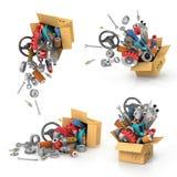 Placez-le des pièces d'auto dans les boîtes en carton Photographie stock